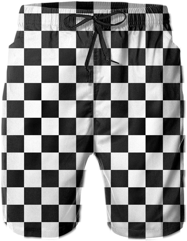 Black White Polka Dot Mens Shorts Casual Classic Quick Dry Swim Trunk Drawstring Beach Shorts with Pockets