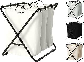 ABOUT YOU Panier à linge « Homie » avec trois sacs à linge amovibles, panier à linge spacieux pour trier et séparer le lin...