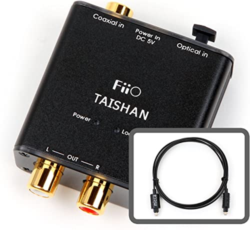 FiiO D3 (D03K) Digital to Analog Audio Converter With Micca 6ft Optical Toslink Cable - 192kHz/24bit Optical and Coaxial DAC product image