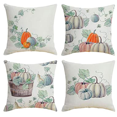 Jasfura Set of 4 Fall Throw Pillow Covers 18x18 Inch Autumn Farmhouse Decorative Couch Pillow Cases Cotton Linen Case Square Cushion Covers for Thanksgiving for Sofa, Couch, Bed and Car (Pumpkin)