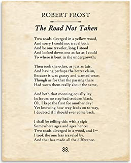 Robert Frost - The Road Not Taken - 11x14 Unframed Typography Book Page Print - Great Gift for Poetry Fans and Inspirational Decor for Home and Office Under $15