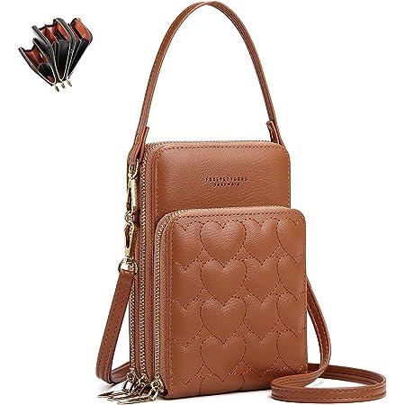 Fashion Damen Handtaschen - unisoul Handy Umhängetasche Leder Handytasche 3 Reißverschluss Beutel mit Vielen Fächern Kartenfach Portemonnaie Brieftasche für Handy unter 6.5 Zoll, Braun