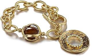سوار خمر الحجر الطبيعي سلسلة المعادن أساور سبائك سميكة سلسلة ربط أساور بوهيميا سلسلة مجوهرات اكسسوارات