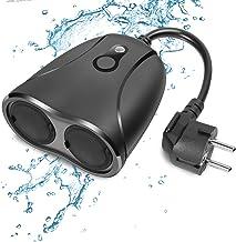 WLAN outdoor stopcontact, waterdicht, Smart Home, intelligent wifi-buitenstopcontact met 2 uitgangen met app-afstandsbedie...