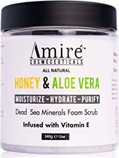 Dead Sea Minerals Foam Exfoliating Body Scrub with Honey and Aloe Vera, Moisturize, Hydrate, and Purify your Skin, Infused with Vitamin E, Great to Reduce Severity of Acne Breakouts