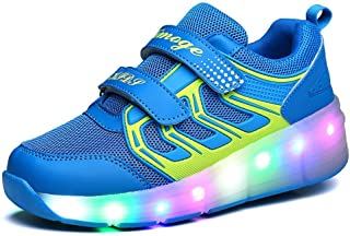 EVLYN Boy and Girls LED Light Roller Skate Shoes with Wheels Outdoor Sneaker