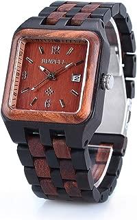 BEWELL メンズ 木製腕時計 カレンダー付き 夜光指針 アナログ表示 クオーツ 軽量 多色の木 正方形 バンド ウッドウォッチ (黒檀+赤檀)