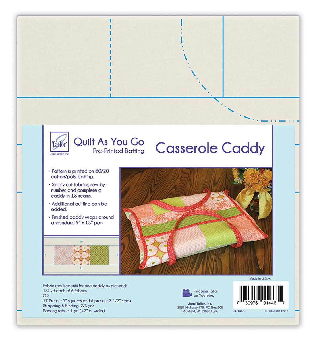 June Tailor Quilt As You Go QAYG Casserole Caddy Natural