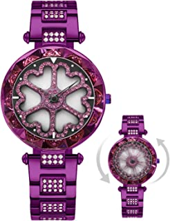RORIOS Fashion 360°Rotatable Dial Ladies Wrist Watch Simulated Diamond Stainless Steel Strap Women Watches