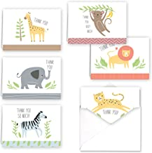 Jungle Animal Baby Child Thank You Folded Assortment Card Pack - Set of 36 Cards, 6 Designs - 6 Cards per Design, 4 7/8'' x 3 1/2''. Blank Inside. Made in The USA. Blank White envelopes Included.