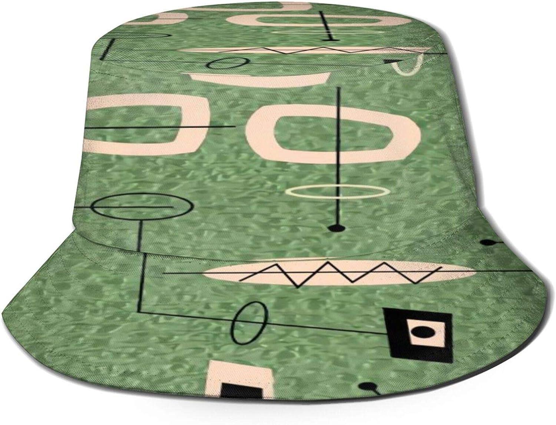 Mid Century Modern Green Max 43% OFF Bucket Summer Packab Unisex Discount mail order Sun Hat