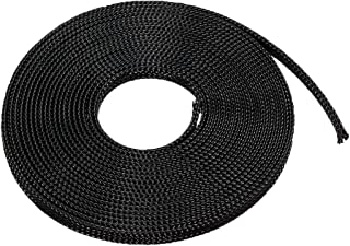 sourcing map 3 Meter PET Expandable Braided Sleeving 9.84ft 10mm Dia Cable Management Sleeve Cord Organizer for Wrap Protect Cables Black