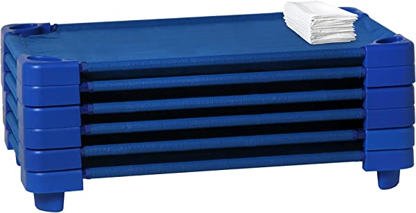 Sprogs Stackable Daycare Cot Rest Mat Standard W Sheet 52 W X 23 D Blue Cot White Sheet SPG 021 5 CS Pack Of 6