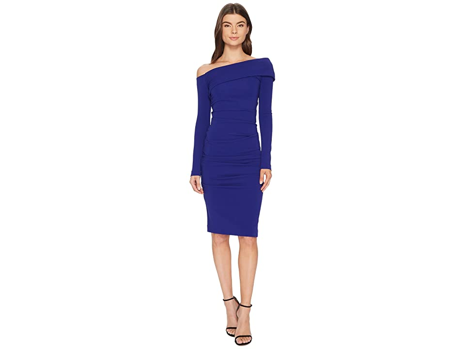 Nicole Miller Structured Heavy Jersey off Shoulder Dress (Royal) Women