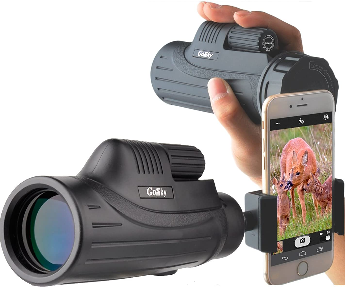 あいまいなミシン目傾いたGosky Pioneer 10X42 単眼鏡 スマートフォンマウントキット - バードウォッチング 旅行 野生動物 秘密 コンサート ボール ゲーム - BAK4 プリズム FMC レンズ 望遠鏡 明るい鮮明な画像 - 携帯電話の美しさを記録