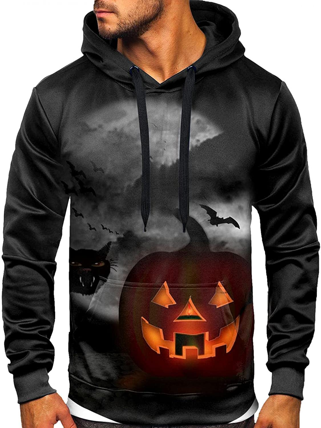 Men's Pullover Hoodies Halloween 3D Printing Hooded Sweatshirts Long Sleeve T-Shirt Blouse Tops with Pocket for Men