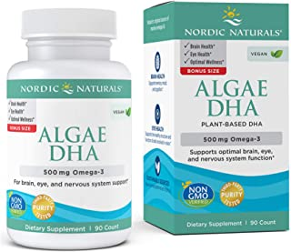 Nordic Naturals Algae DHA - 500 mg Omega-3 DHA - 90 Soft Gels - Certified Vegan Algae Oil - Plant-Based DHA - Brain, Eye &...