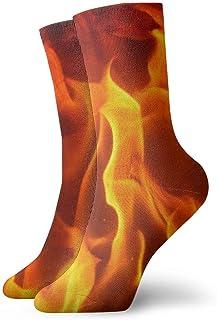 hdyefe, Calcetines de horno con textura de fuego para hombre, mujer, niños, senderismo, rendimiento al aire libre, 30 cm