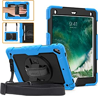 DUNNO iPad 9.7 2017/2018 case - Heavy Duty Protective Case with 360° Rotating Kickstand & Built-in Screen Protector Shockproof Design for Apple iPad 9.7 inch 2017/2018 (5th/6th Gen) (Light Blue/Black)
