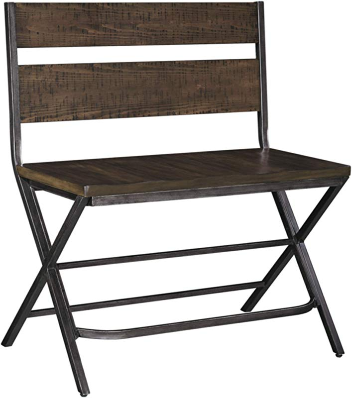 Ashley Furniture Signature Design Kavara Counter Double Barstool Distressed Finish Dark Metallic Metal