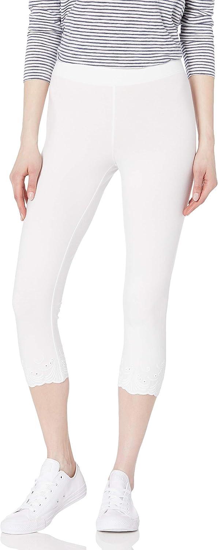 HUE Women's Embroidered Eyelet Hem Cotton Capri Leggings