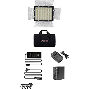 Osaka Bi-Color Dimmable LED Video Light OS 528 Slim for Nikon Canon Sony Panasonic DSLR and Video Cameras and YouTube Video Shooting with F750 Battery 8000 mAh and Power AC Adapter.