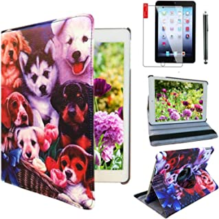 Ipad Case 360 Degrees Rotating Stand Leather Magnetic Smart Cover Case for Ipad 2 / 3 / 4 Generation Case with Bonus Screen Protector, Stylus and Cleaning Cloth ( Dog Design case )