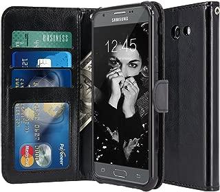 LK Case for Samsung Galaxy J3 Emerge / J3 2017 / J3 Prime / J3 Mission / J3 Eclipse / J3 Luna Pro/Sol 2 / Amp Prime 2 / Express Prime 2, PU Leather Wallet Flip Protective Case Cover (Black)