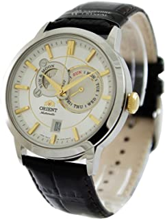 Orient Men's 41mm Black Leather Band Steel Case Sapphire Crystal Automatic White Dial Watch FET0P004W0