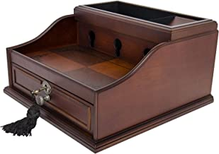 Wood Finish Mahogany Valet Charging Station Organizer for iPhone, Samsung and other Smart Phones - Elora