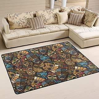 WIHVE African Craft Voodoo Tribal Mask Non Slip Area Rugs Living Room Carpet Bedroom Rug for Children Rug Floor Yoga Mat 24x 36 inch(2