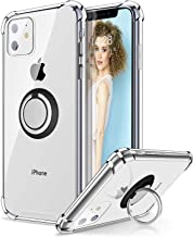 iPhone 11 Case with Phone Ring Holder, Ansiwee Colorful and Clear Hard Back Shock Drop Proof Impact Resist Extreme Durable Protective Cover Cases for Apple iPhone 11 (Crystal Clear)