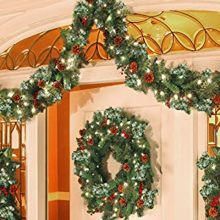 Christmas Garland Decorations, Outdoor Xmas Garland Artificial Pine Garland Holiday Decor Wreath for Walls Stairs Fireplac...
