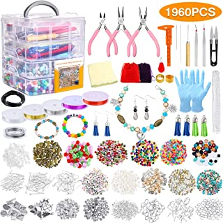 PP OPOUNT 1960 Pieces Jewelry Making Kit with Instructions, Beads, Charms, Findings, Jewelry Pliers, Beading Wire for Necklace Bracelet, Earrings Making and Repairing