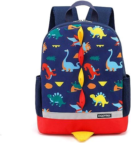 Cosyres Sac à Dos Enfant Dinosaure Maternelle Garçons Sac à Dos école (Bleu Foncé)
