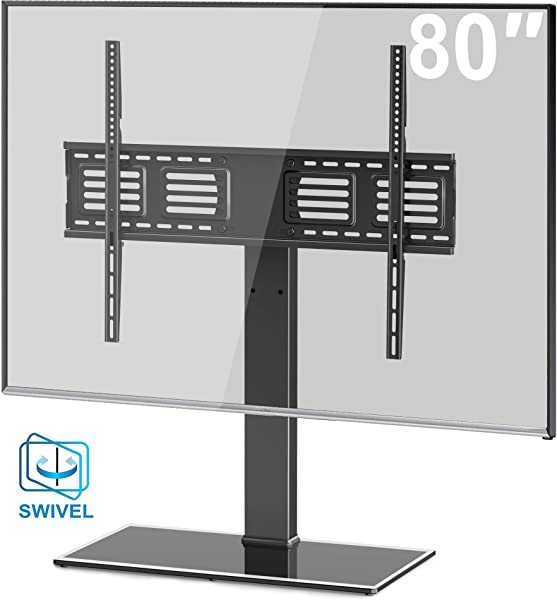 FITUEYES Universal TV Stand Base Swivel Tabletop TV Stand With Mount For 50 To 80 Inch Flat Screen TV 100 Degree Swivel 4 Level Height Adjustable Tempered Glass Base Holds Up To 198lbs Screens