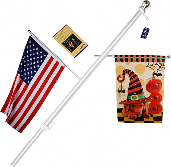A ONE 56 Tangle Free Aluminum Flagpole For Grommet Or House American US Flag Pole Kit With Anti Wrap Sleeve Stainless Steel Rust Prevention Clip Decorative Ball Silver