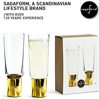 Sagaform Gold Champagne Flute Glasses, 2 Pack – Elegant Sparkling Wine and Cocktail Drinking Glasses – Glass with Gold Stems and Rims – for Weddings, Parties and Home