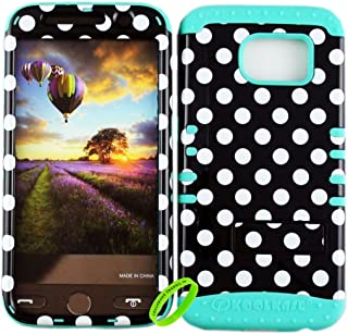 Cellphone Trendz Dual Layer Soft Hard Hybrid High Impact Protective Case Cover for Samsung Galaxy S6 G920 - White Polka Dots On Black Design Hard Case on Mint Blue Skin