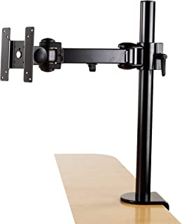 Rife Single Monitor Desk Mount Arm Fully Adjustable Stand Fits up to 27-inch LCD LED Screen