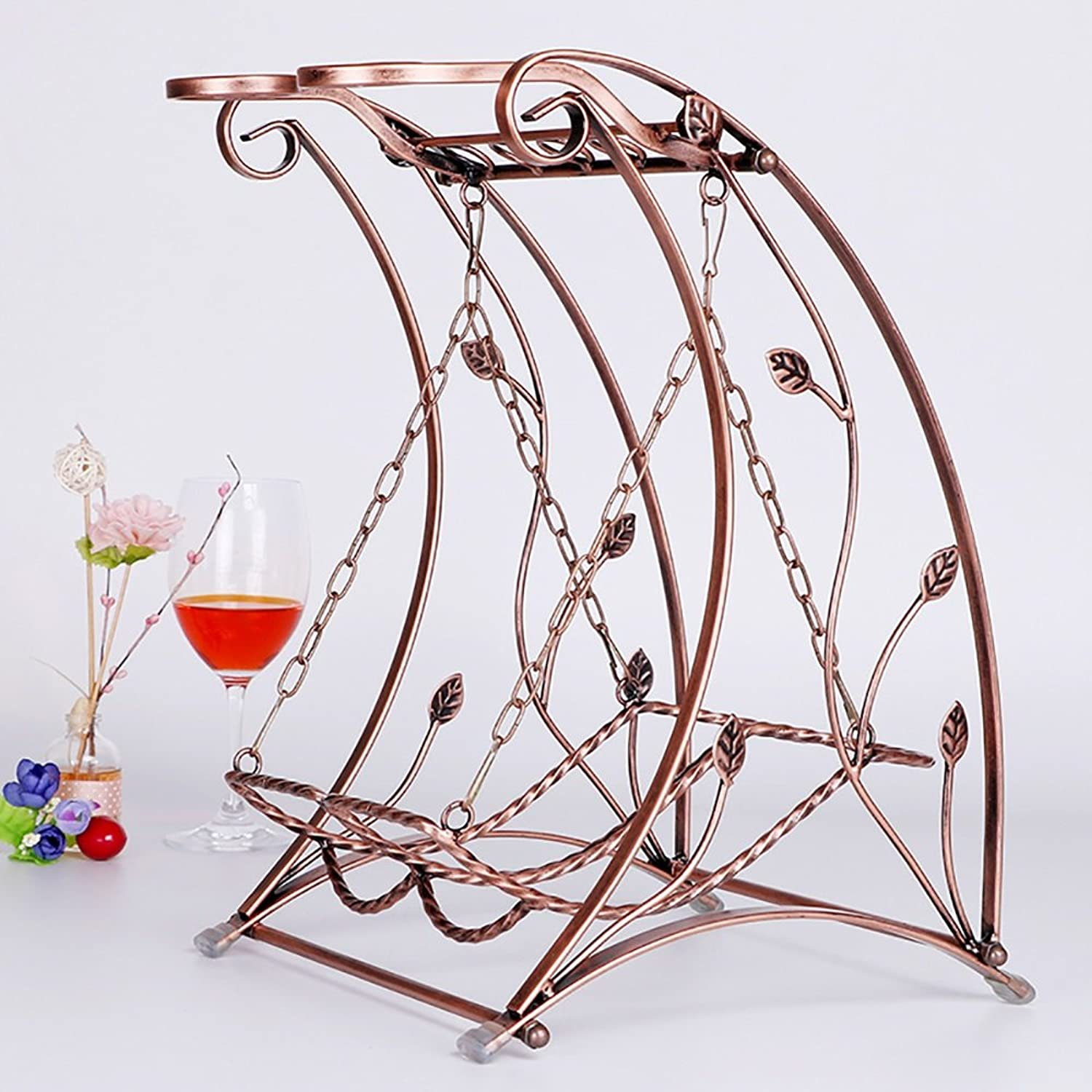 Swing Creative Wine Rack Stainless Steel Tabletop Wine Glass Rack Stand Hold 2 Wine Glass and 2 Bottles of Wine