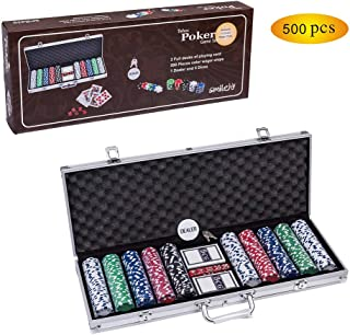 Smilejoy Casino Poker Chips Set,11.5 Gram for Texas Holdem Blackjack Gambling with Aluminum Case (500 PCS)