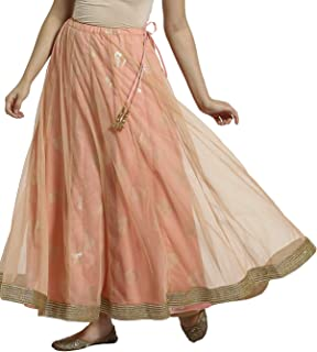 SRISHTI by FBB Women's Rayon Skirt Bottom (1001854838_Peach_Large)