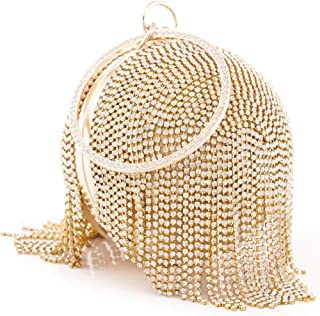 Womans Round Ball Clutch Handbag Dazzling Full Rhinestone Tassles Ring Handle Purse Evening Bag