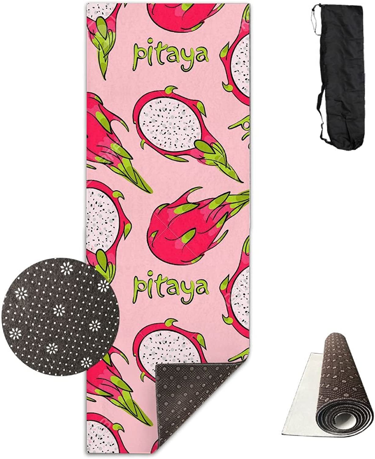 Gym Mat Pitaya Pattern Fitness High Density AntiTear Exercise Yoga Mat With Carrying Bag For Exercise,Pilates