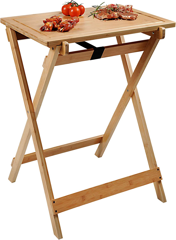 Kesper BBQ-und Beistelltisch, 58275 13, gefertigt aus FSC-zertifiziertem Bambus Mesa Auxiliar para Barbacoa (bambú, 60 x 40 x 1,5 cm), marrón