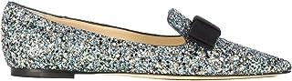 JIMMY CHOO Luxury Fashion Womens GALAGFBELECTRICBLUEMIX Silver Flats | Fall Winter 19