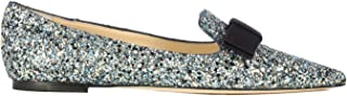JIMMY CHOO Luxury Fashion Womens GALAGFBELECTRICBLUEMIX Silver Flats | Fall Winter 19