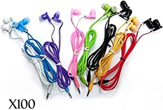 JustJamz 3.5mm Stereo in-Ear Bulk Earbud Headphones Wholesale Earphones for Classroom Library Kids (Assorted Colors), 100 ...