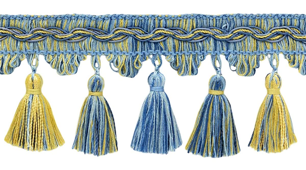 DecoPro 18 Yard Value Pack of Veranda Collection 3.5 Inch Tassel Fringe Trim - Champaigne Gold, Cadet Blue, French Blue, Style# VTF035, Color: Light Blue, Gold - VNT13 (16.5 M / 54 Ft)